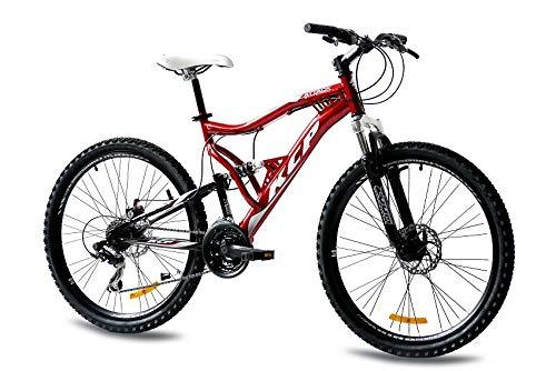 KCP Mountainbike Mountainbike fiets, 26 inch, rood/zwart, volledige vering mountainbike unisex voor heren, dames of jongens, MTB fully met 21 Shimano-versnellingen en twee schijfremmen