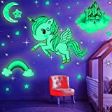 Glow in The Dark Stars, Glowing Unicorn Sets with Castle Moon and Rainbow Wall Decals for Kids Bedding Room , Great for Birthday Gift Wall Mural Stickers for Girls and Boys