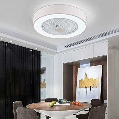 Orillon Modern Macaron Flush Mount Ceiling Fan with Light for Indoor Kitchen Bathroom Bedroom,Remote LED 3 Color Lighting Low Profile Quiet Electric Fan with 4 ABS Blades, 22 inches White
