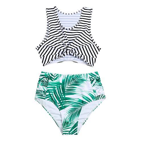 GaTIK Frauen Zweiteilige Bikinis Gewickelte Brust Bikini Bademode Badeanzug High Waist Beachwear