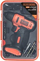 Black+Decker 12V 1.5Ah 900 RPM Cordless Drill Driver with 13 Pieces Bits in Kitbox For Drilling and Fastening,...