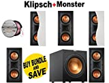5 Klipsch R-5502-W II In-Wall LCR Speaker - Each (White) + Klipsch R-12SW Powerful 12' 400 watts Subwoofer + Monster - Platinum XP Clear Jacket MKIII 50' Compact Speaker Cable - Clear/Copper Bundle