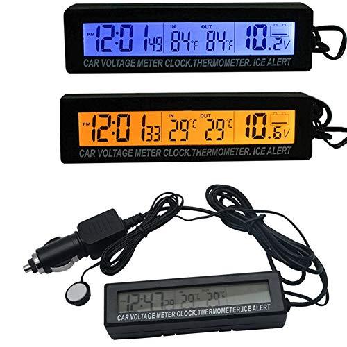 vap26 3 en 1 Reloj Digital para Coche Entrada/Temperatura Exterior Termómetro Medidor de Voltaje Pantalla LED