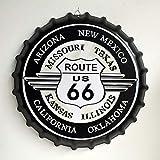 Eureya Plaque en métal Bouchon de Bouteille de bière Plaque pour Home Café Bar Décoration Murale 35x 35cm–Parfait Souvenir, Arizona Route US 66, 35X35cm