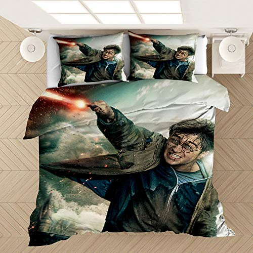 KIrSv Harry Potter 3D Print Pattern Duvet Cover Pillowcase,The Most Favorite of Boys and Teenagers,Suitable For Bedrooms,Apartments,and Soft Bedding-13_228x228cm(3pcs)