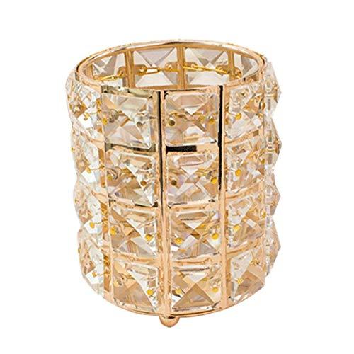 Canjerusof Cosméticos Cepillo del Maquillaje del almacenaje del envase del Cubo para Las Muchachas de Las señoras de Cristal de Oro