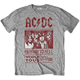 ACDC Men's AC/DC Highway to Hell World Tour 1979/1980 with Back Printing T-Shirt, Grey (Grey...