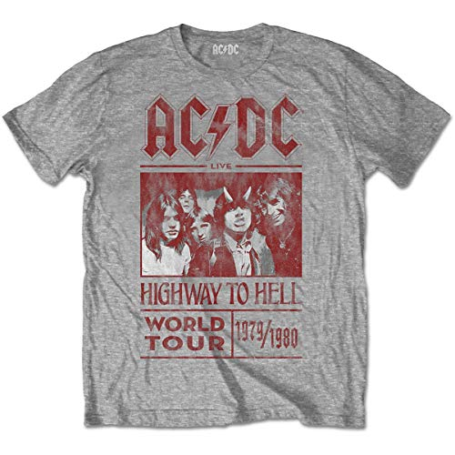 Rockoff Trade ACDC Highway To Hell World Tour 1979/80 Camiseta, Gris, Medium para Hombre
