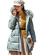 Winter Ladies Long Fur Down Jacket, Dik Zipper Jacket Winter Beneden Dik Kunstbont bontjasje Taille Lange Outdoor winddicht Elegant Down Jacket,Blue,M