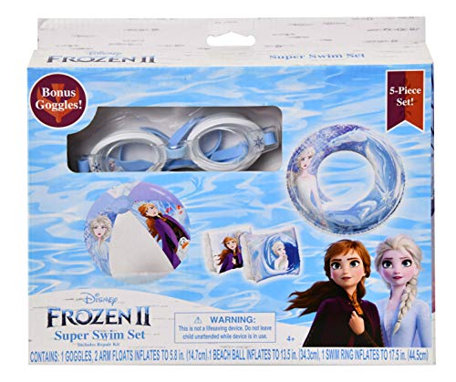 Frozen2 - 5pc Swim Set:Goggles, Swim Ring, Beach Ball & Two Arm Floats