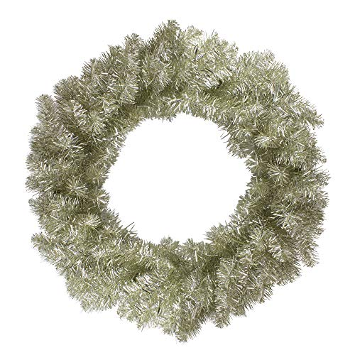 Northlight 24' Metallic Champagne Gold Artificial Double Tinsel Christmas Wreath - Unlit