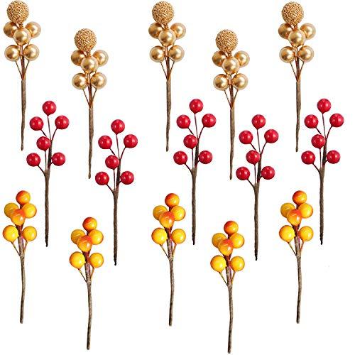 Baya decorativa,15 piezas de bayas artificiales Mini decoración de flores artificiales de Navidad para decoración de otoño, decoración de árboles de Navidad, manualidades, bodas