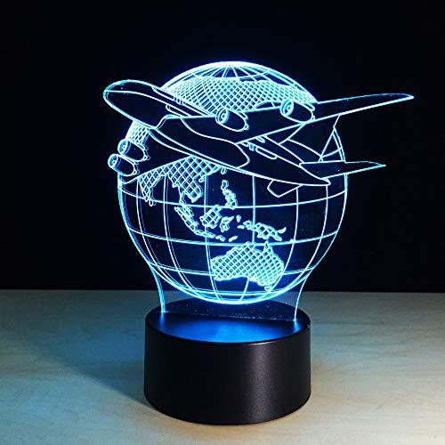3D Avion Volant De La Terre Nuit Lampe 16 Couleurs Changeantes Puissance Usb Contact Switch Lampe Décorative Illusion Optique Led Lampe De Table Anniversaire Noël Cadeau Enfants Jouets