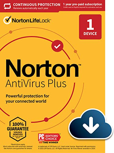 Norton AntiVirus Plus – Antivirus software for 1 Device with Auto-Renewal - Includes Password Manager, Smart Firewall and PC Cloud Backup [Download]