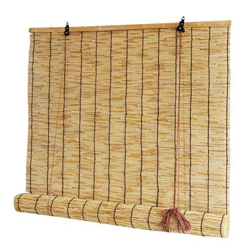 GeYao - Cortinas de varillas de elevación estilo retro natural, persianas enrollables, pérgola, valla de techo, ventana enrollable de bambú, filtro de luz, privacidad con ventilación, cortinas de paja