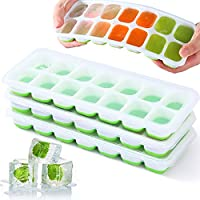 VEHHE Ice Cube Trays, 3 Pack Reusable Silicone 14-Ice Cube Tray with Spill-Resistant Removable Lid, Flexible and Odorless...