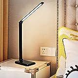 HSJ LáMpara de Escritorio Led con Control TáCtil, DiseñO de Moda LáMpara de Oficina para Luz de Lectura, LáMparas de Pie para Habitaciones de Cama, Sala de Estudio, Oficina(Black)
