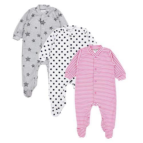 TupTam Baby Mädchen Schlafstrampler mit Fuß 3er Pack, Farbe: Farbenmix 2, Größe: 68