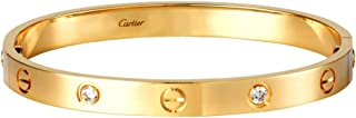 Women's Fashion Jeweled Gold Plated Love Cartier Hinged Bangle Bracelet Jewelry