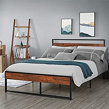 Yaheetech Full Size Platform Bed Frame Mattress Foundation with Modern Wood Headboard and Footboard Metal Bed with Slat Support Non-Slip Without Noise Easy Assembly Mahogany