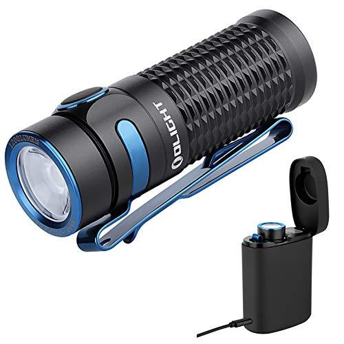 Olight Baton 3 Kit Linterna LED Recargable Pequeño,1200 Lumens 6 Modo Impermeable IPX8,Mini Linterna LED alta Potencia profesional, con Batería 16340 y cargador inalámbrico (Negro Kit)