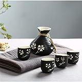 WACE 5 Piezas de cerámica Set Sake El Sake for los Amantes Incluir 1PC Botella de Sake Y 4PCS Copas Sake