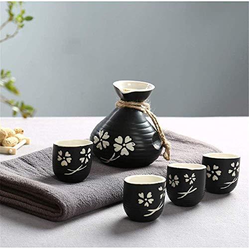 WACE 5 Stück Keramik Sake Set Die for Sake-Liebhaber Fügen 1PC Sake-Flasche und 4PCS Sake Cups 0517
