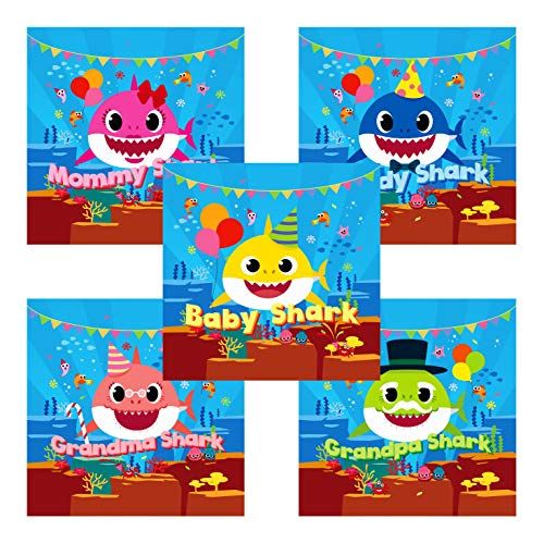 Baby Shark Party Supplies 100 Stickers for Baby Shark Birthday Decorations Favors Square Sticker Easy Peel Made in Korea