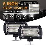 5 pollici 135W LED Light Bar Triple Row Spot e Flood Light 9D Waterproof IP67 Super Bright Off-Road Driving Fendinebbia per auto 4x4 camion ATV SUV e More-2 pezzi