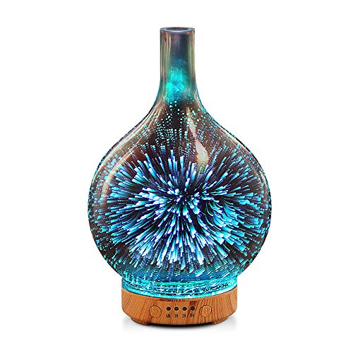 Porseme 3D Essential Oil Diffuser Cool Mist Humidifier Ultrasonic Aromatherapy Diffuser with 7 Color Changing LEDs Night Light,Auto Shut-Off for Home,Office,Yoga,Baby,Sleep
