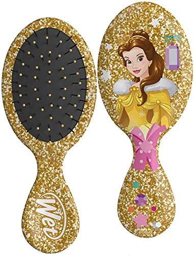 Wet Brush Mini Detangler Hair Brush, Disney Princess Glitter Ball Belle/Yellow