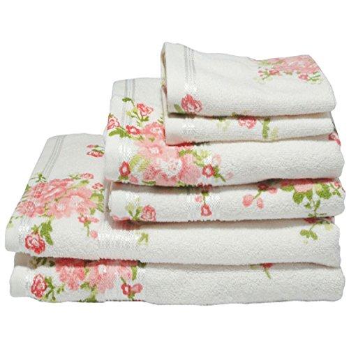 Harwoods - Set asciugamani ospiti - 100% cotone portoghese - stampa con rose - 4 pezzi - Panna/pesca