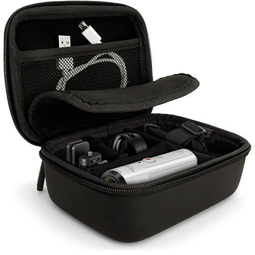 iGadgitz U5886 Estuche cámara fotográfica Duro - Funda Compatible con Go Pro Hero, Session, Qumox, Sony Action CAM - Negro
