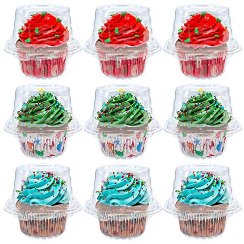 50 PCS Individual Cupcake Container, Stackable Single Compartment Cupcake Holder BPA-Free Clear Plastic with Deep Dome, Disposable Cupcake Boxes Favor Party Birthday Wedding Holiday in Bulk