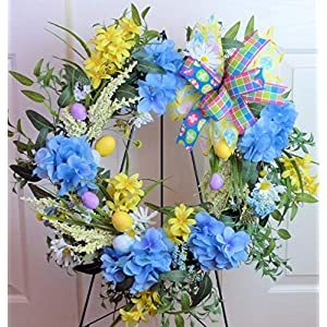 Easter Cemetery Wreath with Hydrangeas, Easter Grave Wreath, Easter Cemetery Wreath