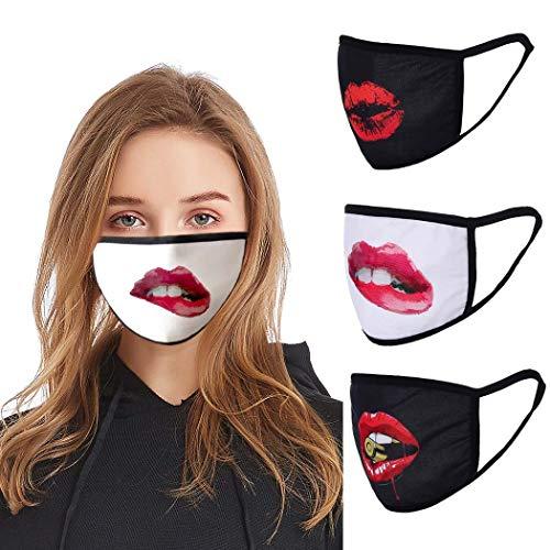 Edary Staubschutzhülle, 3D-Druck, Lippen, wiederverwendbar und waschbar, Baumwolle, warmer Mundschutz, für Damen und Mädchen, 3 Stück