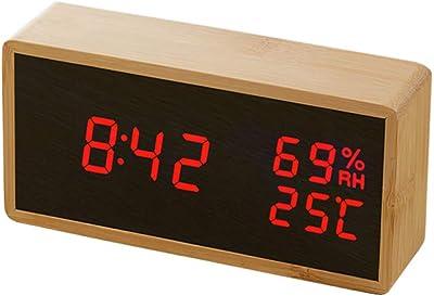QZTG Despertador Digital Reloj De Alarma Led De Madera Fecha De ...