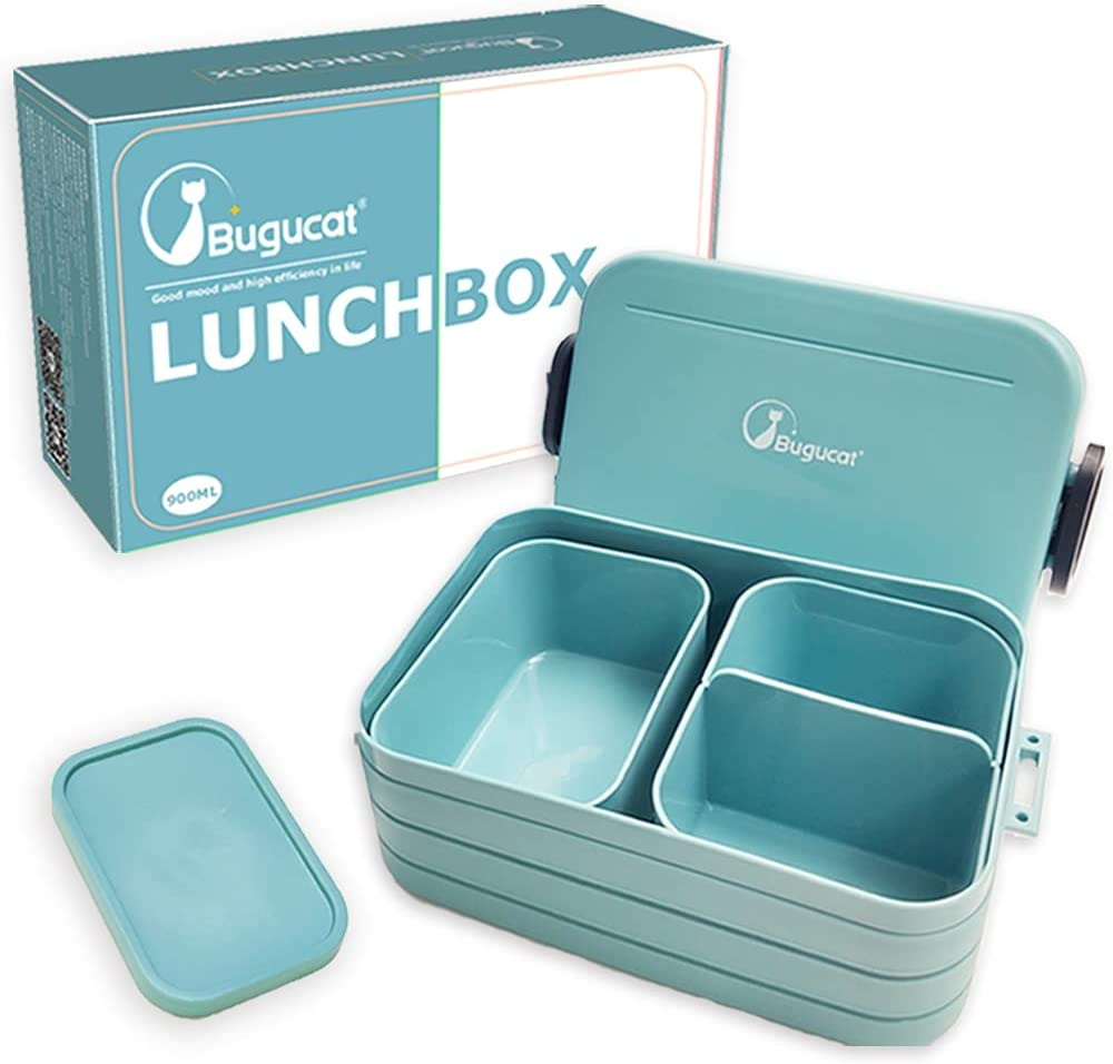 Bugucat Lunch Box, Bento Box Infantil Fiambrera Hermetica con Compartimentos y Cubiertos, Caja Bento a Prueba de Fugas para Adultos, Almuerzo de Plástico Caja de Bento para Lavavajillas y Microondas