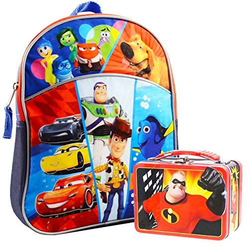 Disney Pixar Mini Backpack for Boys Girls Toddlers Kids ~ Premium 11' Backpack Bundle with Snack Tin Featuring Toy Story, Disney Cars, Finding Nemo, Inside Out, The Incredibles, and UP (Disney School Supplies)