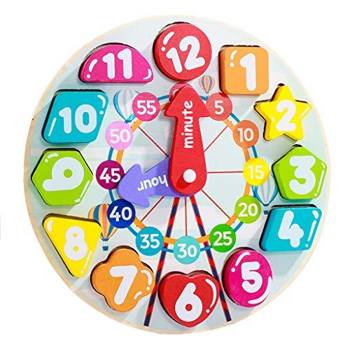 SY-Home Les Blocs d'horloge en Bois, Temps d'enseignement Nombre de Blocs Jigsaw Montessori Apprentissage Cadeau de Jouets éducatifs pour 1 2 3 Ans Tout-Petit bébé Enfants