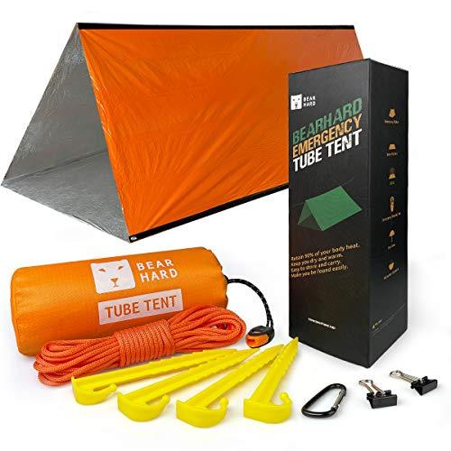 Bearhard-Not Zelt, 2-Personen-Schlauchzelt-Überleben Unterkunft mit Paracord, Einsatz ultraleichter Überlebenszelt-Notunterkunft Verwendung für Camping, Wandern, Kajakfahren