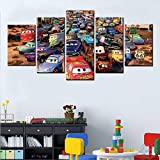 5 paintings Canvas painting Car 3 lightning mcqueen poster wall art canvas modern Nordic canvas printing Art Prints Pictures Boys room Bedroom Decor(No frame)-30x40x2 30x60x2 30x80cm