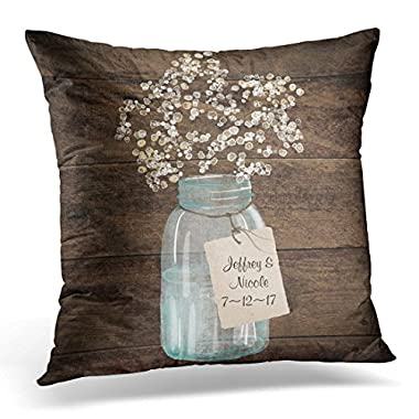 VANMI Throw Pillow Cover Country Rustic Barn Wedding Wood Mason Jar Babys Country Decorative Pillow Case Home Decor Square 18x18 Inches Pillowcase