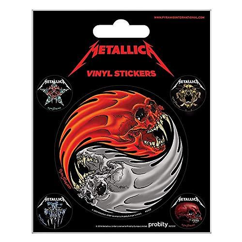Set of 5 Genuine Metallica Yin & Yang Skulls Vinyl Stickers Gadget Decals