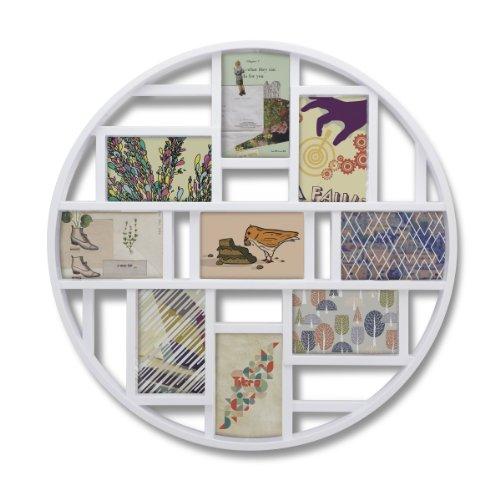 Umbra Luna Bilderrahmen Collage für 9 Fotos – Runde Fotowand für neun 10 x 15 cm Bilder, Fotos, Illustrationen, Grafiken und Mehr, Weiß