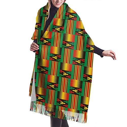 Tengyuntong Bufanda de mantón Mujer Chales para, Bufanda de invierno de cachemir con estampado tribal de tela Kente para mujeres y hombres