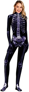 Scary Halloween Cosplay Costume Skeleton Jumpsuit for Women Unisex Bodysuits Elastic Disguise Woman