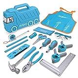 Hi-Spec 17-teiliges Kinder Werkzeugset mit LKW box in Blau, Kinderschürze...*