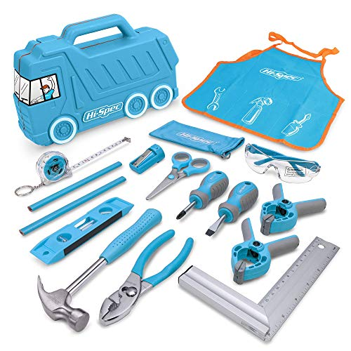 Hi-Spec 17 Piece Kids Tool Kit with Blue Truck Tool Box, Kids Apron with Pockets, Safety Glasses, Level, REAL Small Size Hand Tools, Safety Scissors DIY Construction Educational Childrens Tool Set