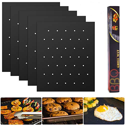 EVILTO Grill Mat with Holes Set of 5-100% Non-Stick BBQ Grill Mats, Heavy Duty, Reusable, Easy to Clean and Dishwasher Safe Barbecue Grilling Accessories - Works on Electric Grill Gas Charcoal BBQ